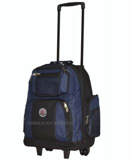 Transworld Black/Navy 18 Rolling Wheeled Backpack School Book Bag