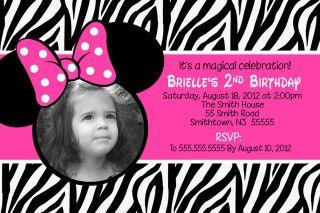 ZEBRA MINNIE MOUSE BIRTHDAY INVITATIONS   **PRINT YOUR OWN / DIGITAL