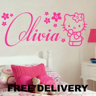 HELLO KITTY YOUR NAME WALL STICKERS MURAL GIRLS BEDROOM  GIFT IDEA