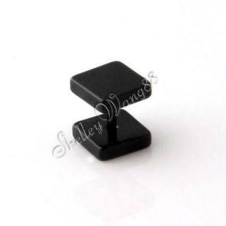 Newly listed Mens Earring Ear Square Stud Stainless Steel Black 4mm