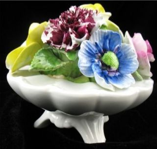 Radnor Art Pottery Bone China Staffordshire Floral Vase Basket Bouquet