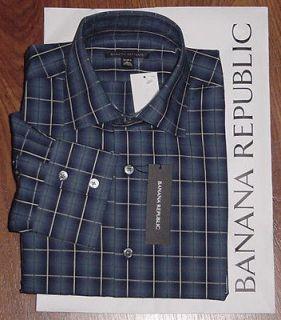 BRAND NEW $78 BANANA REPUBLIC BLUE PLAID PREMIUM SHIRT LARGE 16.5