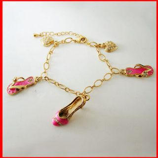 18K GOLD OVERLAY BRASS CHARM HIGH HEEL SLIPPER HEART BRACELET ANKLET