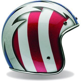 Bell Custom 500 Low Profile Motorcycle Helmet Cobra Red Blue Stars