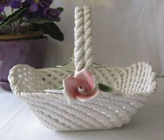Lanzarin Ceramiche Hand Made Art Pottery Basket Italy