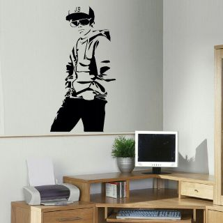 JUSTIN BIEBER JB LARGE BEDROOM WALL MURAL ART STICKER GRAPHIC DECAL