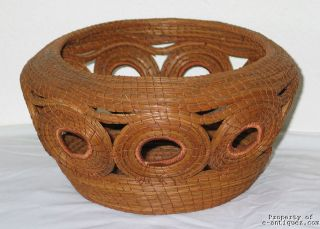 Vintage Pine Needle Woven Basket   Native American Indian or Local