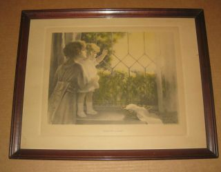 Framed Bessie Pease Gutmann Daddys Coming c 1915 Free Shipping