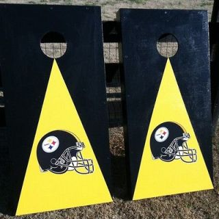 STEELERS CORNHOLE BOARDS, CUSTOM HAND PAINTED BEAN BAG TOSS GAME