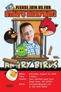 ANGRY BIRDS Printable Birthday Party Invitation File Photo Boy Girl U