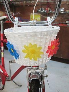 Girls Bike White Flower Basket fit Schwinn Slik Chik Huffy Murray