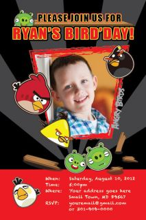 ANGRY BIRDS Printable Birthday Party Invitation File Photo Boy Girl