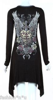 CRYSTAL HEART CROSS ANGEL WINGS TATTOO BLACK TUNIC DRESS & ED HARDY