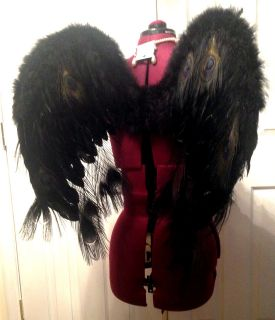 Black OR Red Feather Angel Wings Secret Dark Fairy Peacock Evil