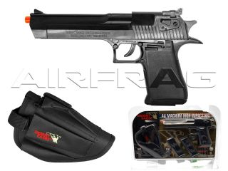 .44 Magnum Spring Airsoft Gun Pistol Kit w/ Holster & 2 Mags Black