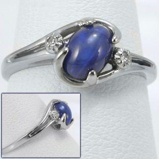 5ct Blue Star Sapphire & Diamond Ring 10k White Gold cabochon round