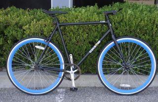 Gear Bike Fixie Bike Road Bicycle 58cm Black w Deep 43mm Blue rims