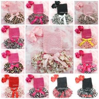 Baby Satin Ruffles Bloomers Red Pink Black White Blue Tube Top