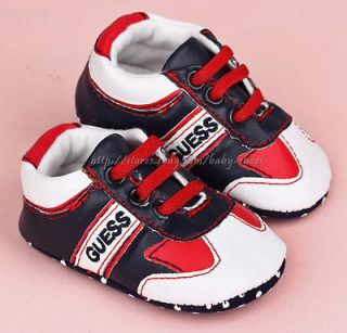 Baby Boy Navy & White Soft Sole Shoes Toddler Sneaker Size Newborn to