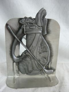 METZKE PEWTER GOLF BAG BOOKEND BOOK END CLUB BALL nice