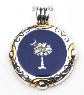 Fashion Jewelry New Dark Blue Inlay Silver Gold Palmetto Moon Palm
