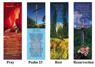 of 25 Inspirational christian bookmarks with photo art and Bible verse