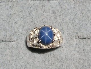 MENS 12X10MM LINDE LINDY CRNFL BLUE STAR SAPPHIRE CREATED SS RING