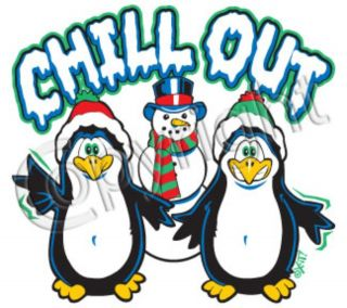 CHILL OUT Cool Happy Feet Pinguin Christmas Holidays Snow Funny Kids T