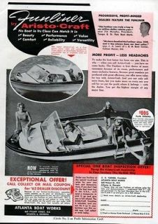 1962 Aristo Craft Funliner Original Boat Ad