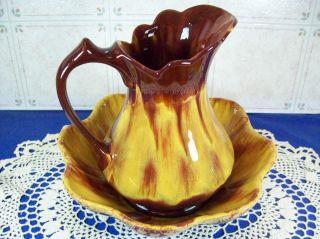 Blue Mountain Pottery Harvest Gold Large Pitcher Jug & Bowl Set