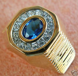 Blue Sapphire simulated mens circle ring 18K overlay 9
