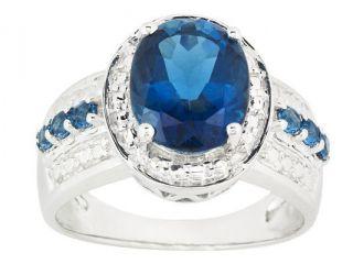 Womens Oval Natural London Blue Topaz Ring .925 Sterling Silver   JTV