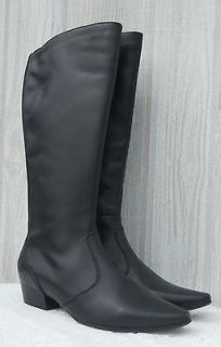 Knee High Black Leather Horse Riding Equestrian Womens Boots Sz 8 NEW
