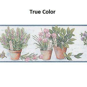 Kitchen Wallpaper Border / Cooking Herbs Wall Border/ Blue Trim