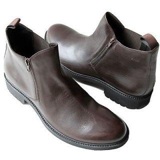 395 HUGO BOSS Black Italy Brown Ankle Zipper Dress Boots 12 45