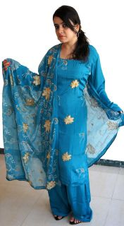 Blue Indian wedding Salwar Kameez Punjabi dupatta crepe dress chest