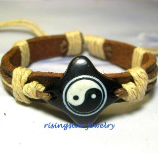 Ching Harmony Lucky Symbol Leather Surfer Bracelet Wristband
