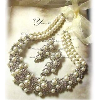 OOAK bridal bib statement pearl, swarovski crystal necklace earrings