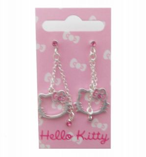 Hello Kitty Pink Bow Diamante double chain earrings