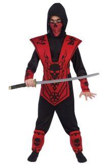 Boys Red Ninja Costume Childs Asian Dragon Samurai Fighter Skull S M L
