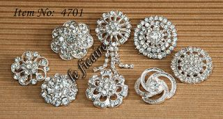 Clear Crystal Rhinestone Shank Buttons Crafts x 8 styles #4701