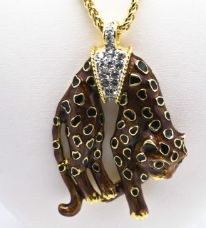 Kenneth Jay Lane Brown & Black Enamel Crystal Panther Pendant Necklace