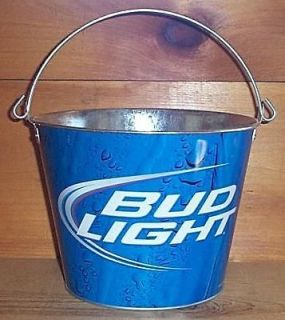 BUDWEISER BUD LIGHT PUB STYLE METAL BEER ICE BUCKET COOLER NEW