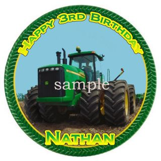 TRACTOR Edible CAKE Image Icing Topper Round John Deere