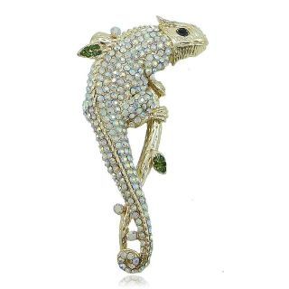 Rare Lizard Chameleon Pin Brooch Rhinestone Crystal Animal Clear AB