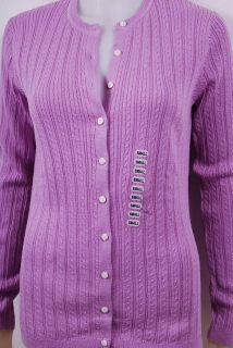 New Foxcroft Button Down Cable Knit Cardigan Sweater for Women in