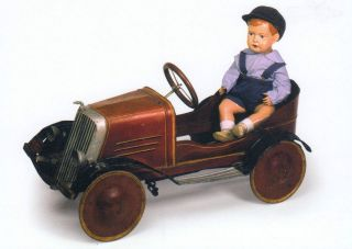 Museum Postcard old Tin Toy: PEDAL CAR w/PAPIER MACHE DOLL Portugal