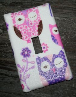 Switchplate made w Pottery Barn Kids SLEEPY OWL Pink Purple