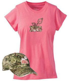 Womens Ladies Realtree Girl Camo Hat and T Shirt Set hunting Pink