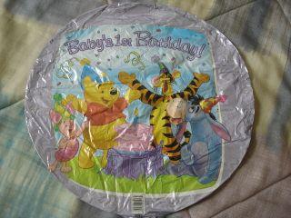 Babys 1st Birthday 17 mylar balloon Disney Winnie Pooh Tigger Eeyore